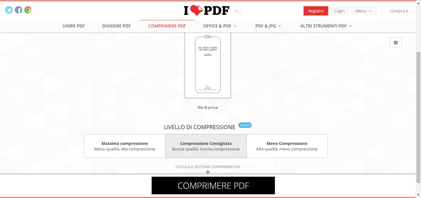 ilovepdf ridurre pdf