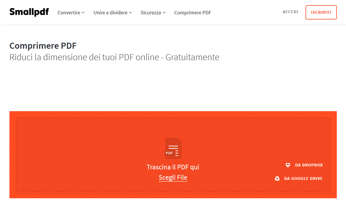 smallpdf ridurre pdf